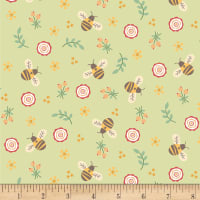 Henry Glass Flannel Bumble Garden Bumble Bees Green