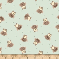 Henry Glass Flannel Bumble Garden Tossed Owls Aqua