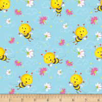 Henry Glass Busy Bees Allover Bees Blue