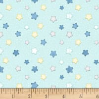 Henry Glass Flannel Sleepy Bear Stars Blue