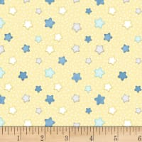 Henry Glass Flannel Sleepy Bear Stars Yellow