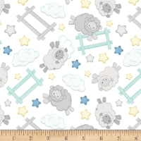 Henry Glass Flannel Sleepy Bear Jumping Sheep White/Multi