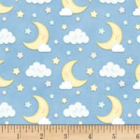 Henry Glass Flannel Sleepy Bear Moon & Clouds Blue