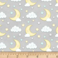 Henry Glass Flannel Sleepy Bear Moon & Clouds Gray