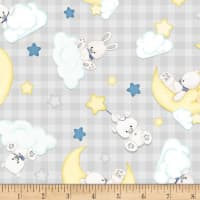 Henry Glass Flannel Sleepy Bear Tossed Bears On Check Gray