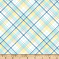 Henry Glass Flannel Sleepy Bear Bias Plaid Blue
