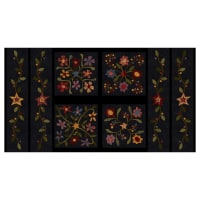 "Henry Glass Flannel Folk Art Flannels 2 24"" Folk Art Panel Black"