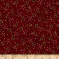 Henry Glass Flannel Folk Art Flannels 2 Daisy Toss Red