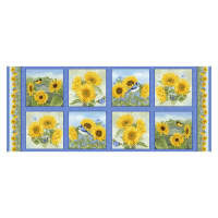 "Henry Glass My Sunflower Garden 18"" Sunflower Block Panel Blue"