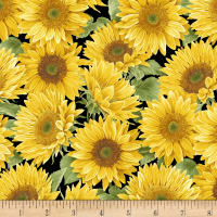 Henry Glass My Sunflower Garden Packed Sunflowers Black/Yellow