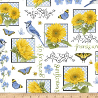 Henry Glass My Sunflower Garden Sunflower & Bluebird Blocks White