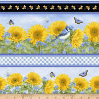 Henry Glass My Sunflower Garden Sunflower Border Stripe Blue/Multi