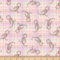 Henry Glass Morning In The Garden Paisley On Plaid Pink