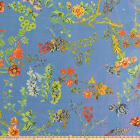 Bright Flowers Crepe Georgette Floral Blue