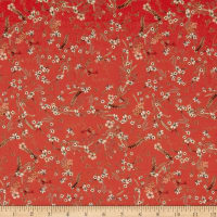 Bright Flowers Crepe Georgette Red