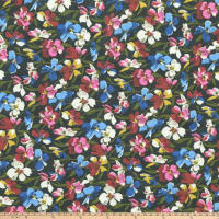 Retro Hollywood Floral Rayon Challis Floral Black Multi
