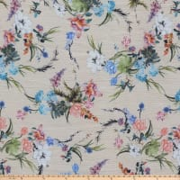 Unfinished Flowers Pebbled Stretch Crepe Floral Beige