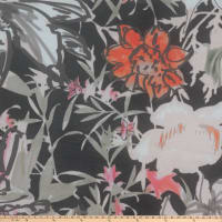 Garden Party Floral Rayon Challis Floral Black/Pesto
