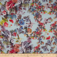 Bouquet Rayon Challis Sky