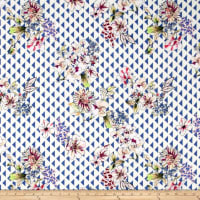 Preview Textiles Triangle Florals Crepe Georgette Floral Blue/White