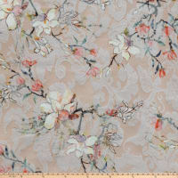 Romantic Floral  Printed Stretch Jacquard Floral Peach