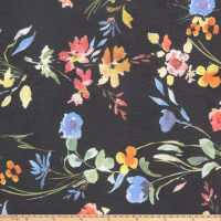 Watercolor Flower Pebbled Stretch Crepe Floral Black