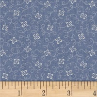 Another Point Of View Vintage Blue Squiggle Floral Dusk