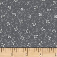 Another Point Of View Vintage Blue Squiggle Floral Charcoal