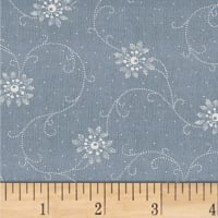 Another Point Of View Vintage Blue Foral Scroll Chambray
