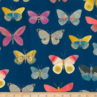 Carrie Bloomston Wonder Newspaper Butterflies Navy