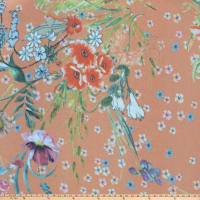 Preview Textiles Sheer Flower Bouquet Sheer Chiffon Floral Peach