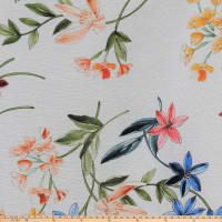 Preview Textiles Spring Milano Flowers Crinkle Crepe Floral White