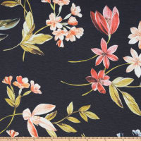 Preview Textiles Spring Milano Flowers Crinkle Crepe Floral Navy