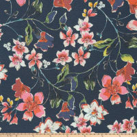 Preview Textiles Flower Blossom Pebbled Stretch Crepe Floral Navy