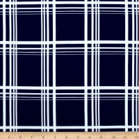 Techno Scuba Knit Plaid Navy/White