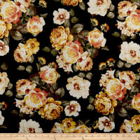 Techno Scuba Knit Roses Apricot/Black