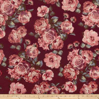 Techno Scuba Knit Roses Burgundy/Rose