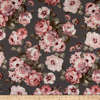 Techno Scuba Knit Roses Rose/Charcoal