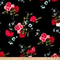 Techno Scuba Knit Floral Black/Pink