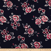 Techno Scuba Knit Roses Navy/Red