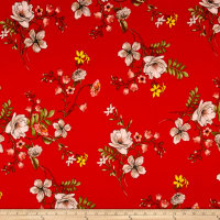 Techno Scuba Knit Floral Garden Red/Taupe