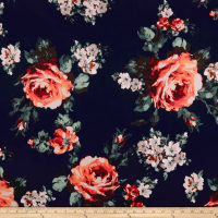 Techno Scuba Knit English Roses Coral/Navy