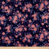 Techno Scuba Knit English Roses Pink/Blue