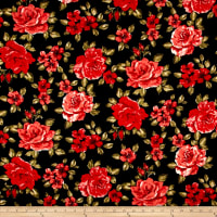 Techno Scuba Knit Roses Black/Red