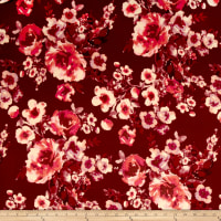 Techno Scuba Knit Watercolor Floral Burgundy