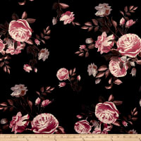 Techno Scuba Knit Roses Rose/Black