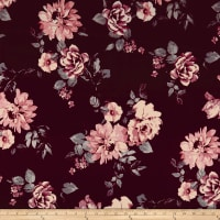 Techno Scuba Knit Floral Burgundy/Rose