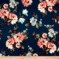 Techno Scuba Knit Floral Teal/Coral