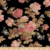 Faye Burgos Impromptu Mix Traditional Wallpaper Rose Black