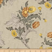Timeworn Tool Box Tape Measure Wallpaper Bouquet Floral Gray